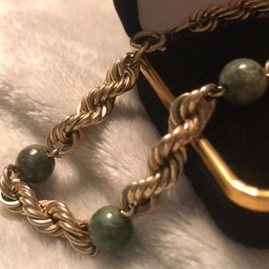 12K yellow gold green jade rope bracelet